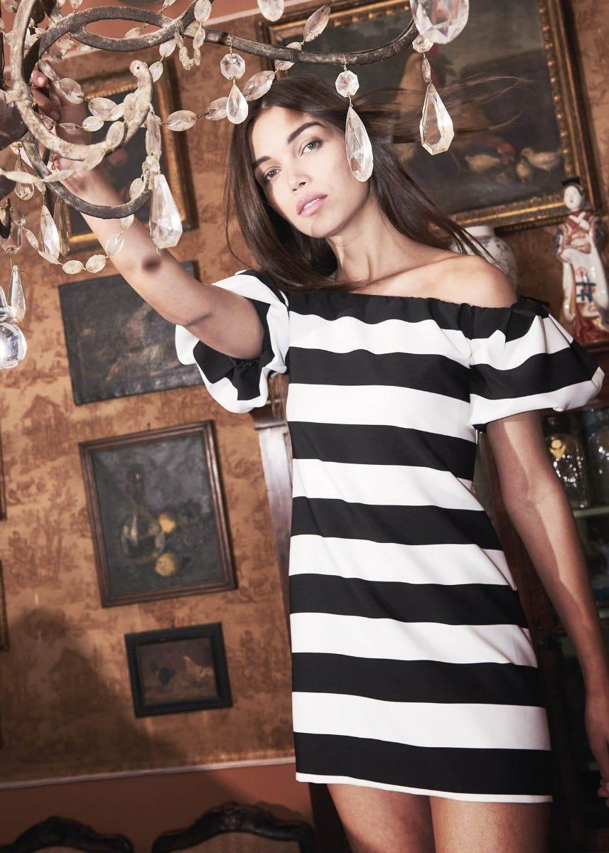 48e679a59682 Striped dress for a Spring night!